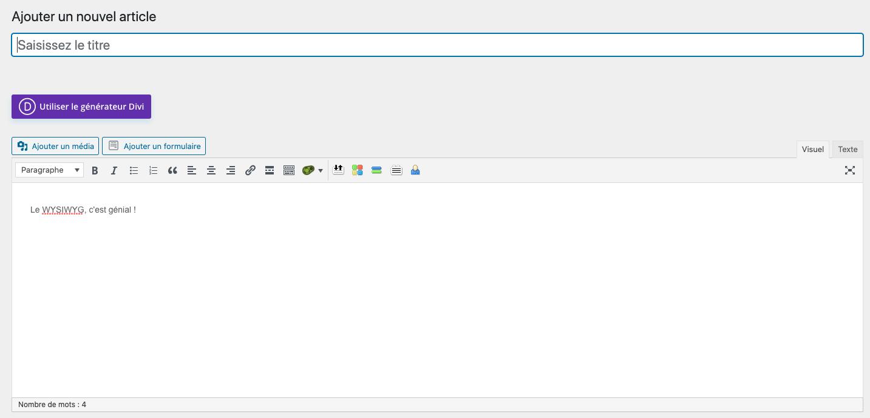 Interface WYSIWYG de WordPress